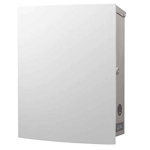 LEON (レオン) MB4504ネオ 郵便ポスト 壁掛けタイプ ステンレス製 鍵付き おしゃれ 大型 ポスト 郵便受け (マグネット付き MAIL BOXシート無し) ホワイト