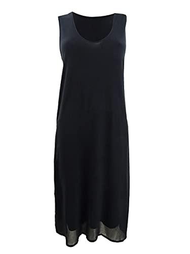 DKNY Womens Black Solid Sleeveless Scoop Neck Tea-Length Trapeze Formal Dress Size XS