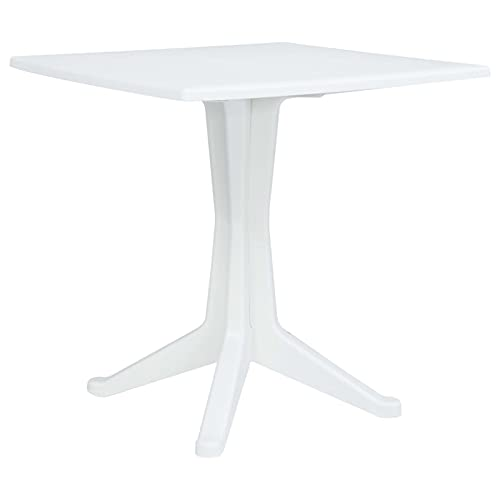 Festnight Garden Dining Table Plastic Square Table for Patio Backyard Balcony Kitchen Dining Room Indoor Outdoor Furniture White 27.6 x 27.6 x 28.2 Inches (L x W x H)