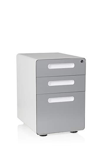 hjh OFFICE 743002 Bureau Roll Container Color Plus Acier Blanc/Gris Armoire à tiroirs avec roulettes, verrouillable