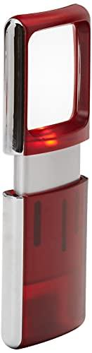 Wedo 2717502 Lupe eckig (mit LED Beleuchtung inklusiv Batterien, transluzent) rot