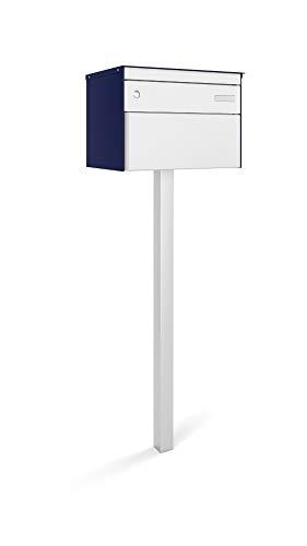 Stebler Briefkasten sbox 13 Breitformat, aus Aluminium, Regendach, Post-Norm BxHxT 444x330x340 mm, Standard Zylinder, Handgerfertigt mit Einzelstütze, Saphirblau/Weissaluminium