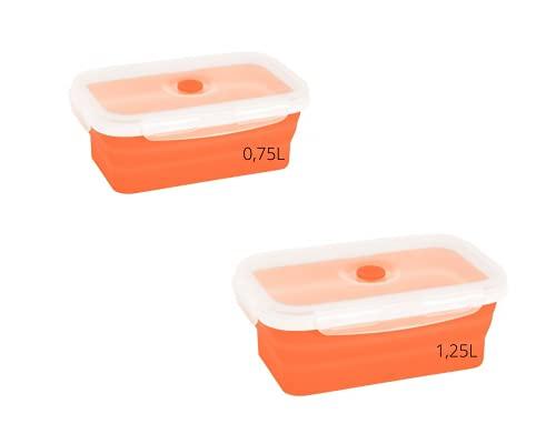 ELMA Juego de 2 Recipientes Almacenamiento de Alimentos, 0,75L y 1,25L, Tuppers de silicona apilables y plegables, Color Naranja, Alimentos al Vacío