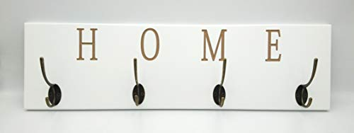 Perchero Pared Lacado en Blanco con diseño Home Tallado .• Percheros de Pared con 4 colgadores Bronce Envejecido • Medidas del Colgador Perchero : 60x17x7,5 cm
