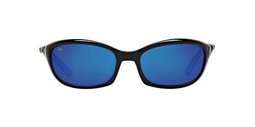 Costa Del Mar Men s Harpoon Polarized Oval Sunglasses, Shiny Black Grey Blue Mirrored Polarized-580G, 62 mm