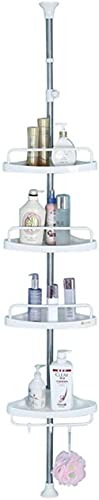 4 Stufe Dusche Caddy Tension Pole Badezimmer-Eckregal, Einstellbarer Aufbewahrungsort-Badewanne, Teleskop-Shampoo-Seifenorganisator mit Handtuchleiste-4 Tier Eckregal
