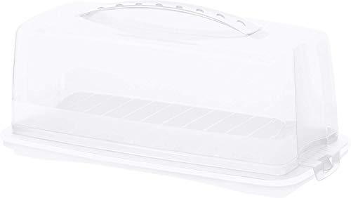 Rotho Fresh, Recipiente para pasteles con capucha y asa de transporte, Plástico PP sin BPA, blanco, 36.0 x 16.5 x 16.5 cm