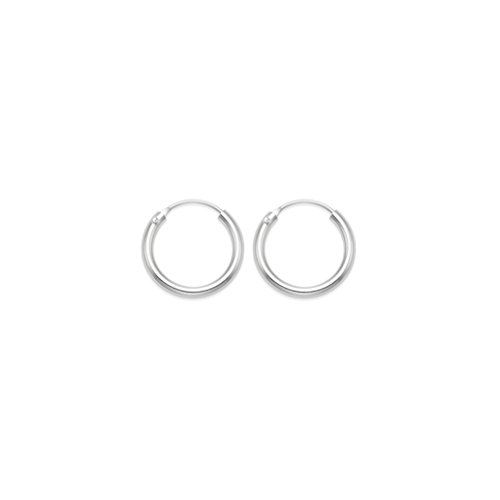 Sterling Silver 12 mm x 1.4mm hinged Hoop Earrings- BEWARE - these earrings are TINY and fiddly to insert. Gift boxed. 6225