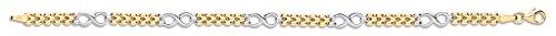 Pulsera para mujer, oro blanco y amarillo, diseño de eslabones elegantes, 17,78...