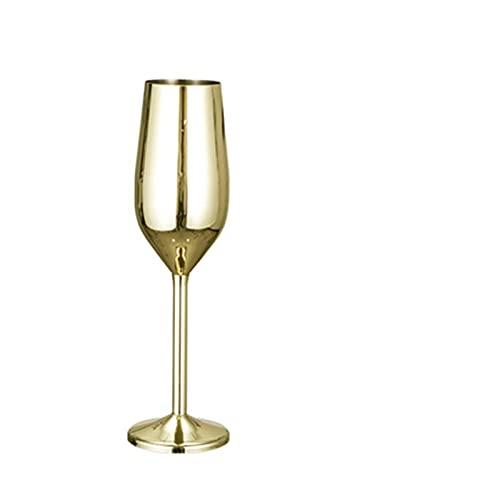 Takagawa HHH Copa de Vino Tinto de Acero Inoxidable Champagne Chapado en la Copa de Vino Tinto 200 ml Copa de Vino espumoso Resistente a la caída HHH (Color : Gold)