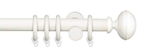 Liedeco Gardinenstange Vorhangstange Stilgarnitur Komplettgarnitur Terra Klingel | Holz | weiß, grau | 28 mm Ø (kalkweiß, 160 cm)