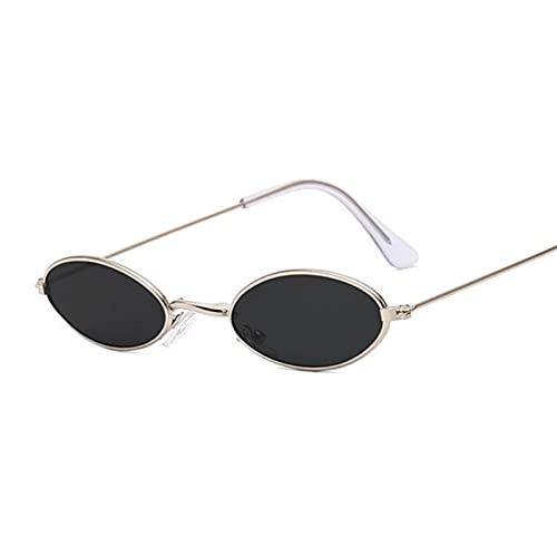 PPCLU Lujo PEQUEÑO Oval Espejo Gafas de Sol Mujer Diseñador Dama Redonda Gafas de Sol Femenino Street Beat (Lenses Color : Silvergray)