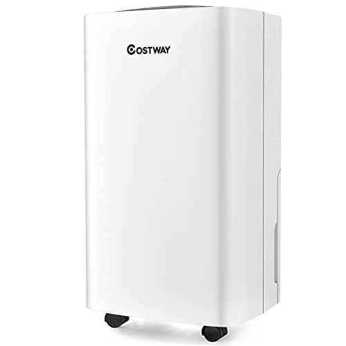 COSTWAY 1500 Sq. Ft Dehumidifier for Medium Spaces, Portable 24 Pints Dehumidifier with 3 Modes, 2 Speeds, 12H Timer, Auto or Manual Drainage, 0.5 Gallon Water Tank, 4 Wheels for Home and Basements