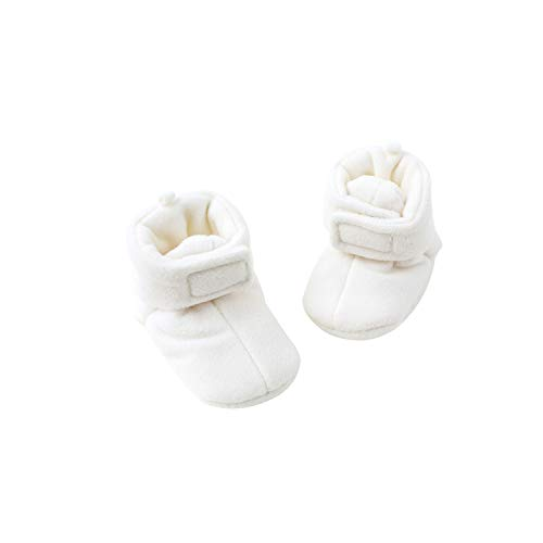 pureborn Baby Boy Girl Unisex Fleece Cozy Booties Bedroom Boots Winter Warm Ivory 0-3 Months