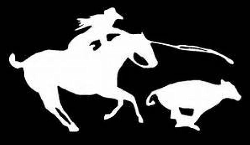 Calf Roping Rodeo Cowgirl Vinyl Decal Sticker|WHITE|Cars Trucks Vans SUV Laptops Wall Art|6.5