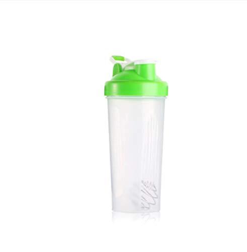 Botella de Agua Itness de 600 ml Botella coctelera Creativa Botella de Mezcla de Polvo de proteína de suero Deportivo con Bola agitadora Verde Libre de BPA