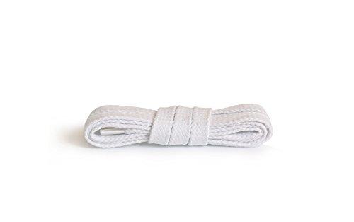 Kaps Lacci piatti, lacci in cotone 100% durevoli di alta qualità, realizzati in Europa, 1 paio, molti colori e lunghezze (120 cm - da 6 a 8 paia di occhielli / 01 - bianco)