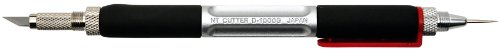 NT Cutter Aluminum Die-Cast Holder Cushioned Grip Art Knife with Needlepoint and Burnishes, 1 Knife (D-1000GP)