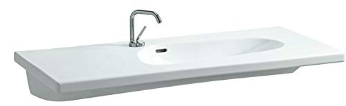 Laufen Palomba Waschtisch unterbaufähig, asymmetrisch, ohne Hahnloch, mit Überlauf, 1200x500, Farbe: Weiß mit LCC