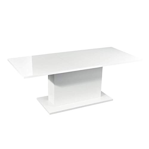 HOMYCASA Dining Table Extensible Flexible Seating Wooden High Gloss White Desk 160-205cm