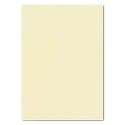 50x DIN A4 Papier Planobogen -Vanille/Creme - 110 g/m² - 21 x 29,7 cm - Bastelbogen Ton-Papier Fotokarton Bastel-Papier Ton-Karton - FarbenFroh®