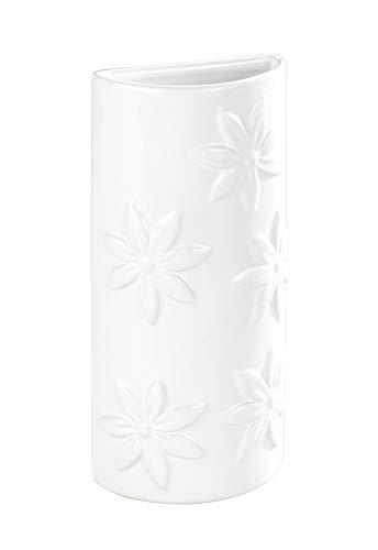 WENKO Humidificador Flores - Humidificador ambiental con decorado floral para los radiadores, Cerámica, 9 x 19 x 4 cm, Blanco