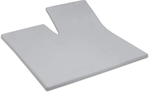 Assepoester - Topper hoeslaken met split (tot 15 cm) - Katoen - 160x200 cm - Licht Grijs
