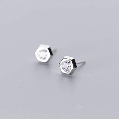 WOZUIMEI Pendientes de Plata S925 para Hombres Y Mujeres, Pendientes Hexagonales de Diamantes Geométricos Simples de Moda CoreanaUn par