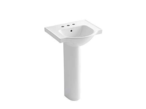 KOHLER K-5265-4-0 Veer Pedestal Bathroom Sink with 4-Inch Centerset Faucet Holes, 21-Inch, White