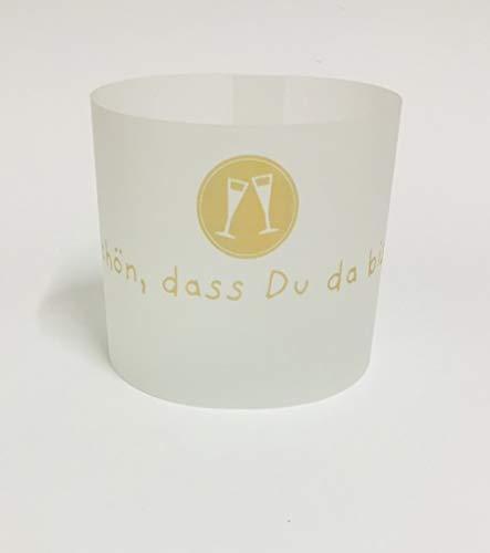 12 Mini Tischlichter mit Teelichtglas (auch Tischkarte) für alle Feste, Hochzeit Goldene Hochzeit,...