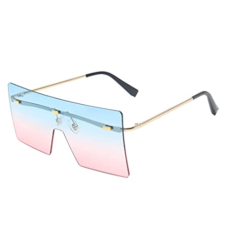 besbomig Gafas de Sol de Gran Tamaño sin Montura, con Estuche para Gafas, Gafas de Sol Cuadradas con Espejo, Color Degradado, Ligeras, para Hombres y Mujeres