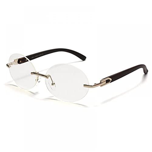 ZZOW Gafas de sol ovaladas sin montura de las mujeres vintage Uv400 conducción sol vidrio hombres frameless moda gafas