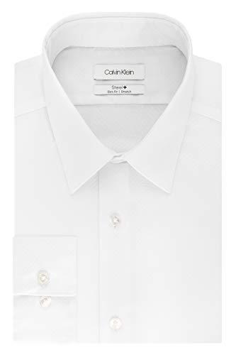 "Calvin Klein Men's Dress Shirt Slim Fit Non Iron Stretch Solid, White, 15.5"" Neck 34""-35"" Sleeve"