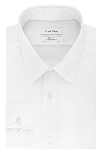 Calvin Klein Men's Dress Shirts Non Iron Stretch Regular Fit Check, Green Multi, 16.5