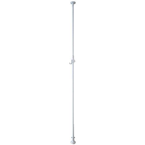 伸縮式エクステリアポール 2.0m~3.4m 屋外でも使用できる突っ張り棒! (ホワイト)