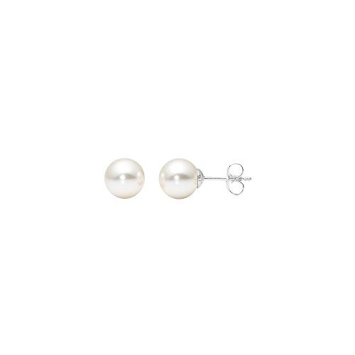 Heideman Ohrringe Damen Perlohrstecker aus Edelstahl silber farbend poliert Ohrstecker für Frauen mit Perle weiss rund 8mm