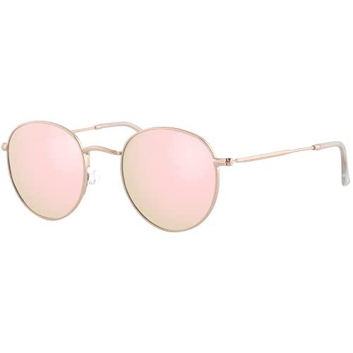 EFE Gafas de Sol Deportivas Polarizadas para Mujeres y Hombres Neutrales Diseñador y Redondas de Espejo Polaroid Contra los Rayos Ultravioletas Rosa