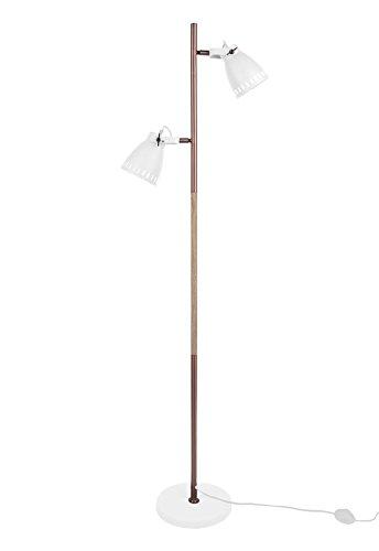 Leitmotiv Stehleuchte Mingle Metall weiß mit Holzdruck, Kupfer, Höhe 152cm und Ø12cm