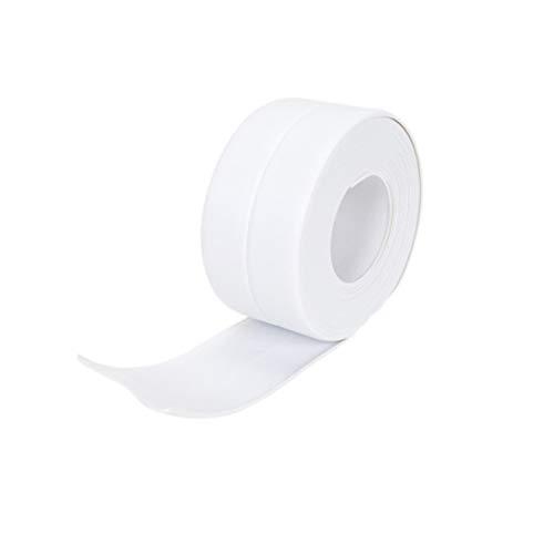 YUENA CARE Cinta Adhesiva Impermeable Blanca Pegatinas a Prueba de Humedad Ajuste de ángulo Flexible Cocina Baño Cinta de Sellado de Pared Blanco L