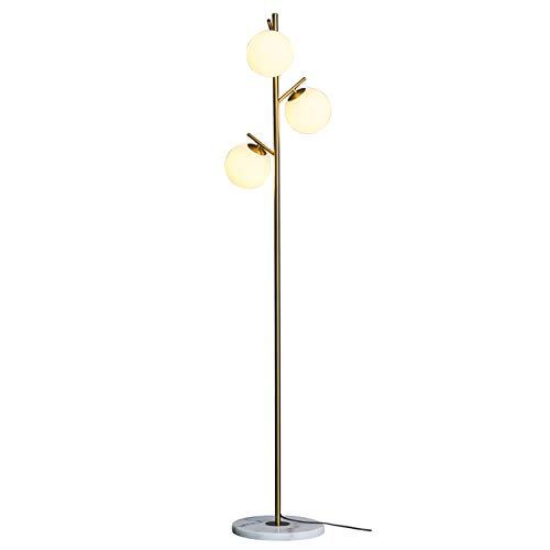 Luz de Pie para Salon Lámpara de pie de vidrio esmerilado para sala de estar, luz contemporánea luz de pie, lámpara de polo de esquina de oro para dormitorio de oficina, sala de estudio, hotel, ilumin