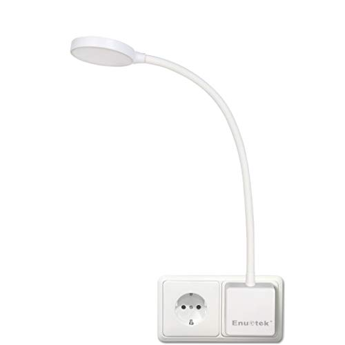 Lampara de Lectura Pared de LED Flexible Regulable Blanco con Enchufe y Interruptor Tactil 4W Brillo Máximo 350Lm Luz Fria 5000K Lot de 1 de Enuotek