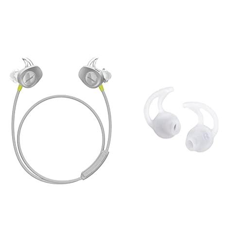 Bose SoundSport, kabellose Sport - Earbuds, (schweißresistente Bluetooth-Kopfhörer zum Joggen), Citron & StayHear Ohreinsätze Größe M (Zwei Paar) für IE2 / MIE2 / MIE2i Kopfhörer, transparent