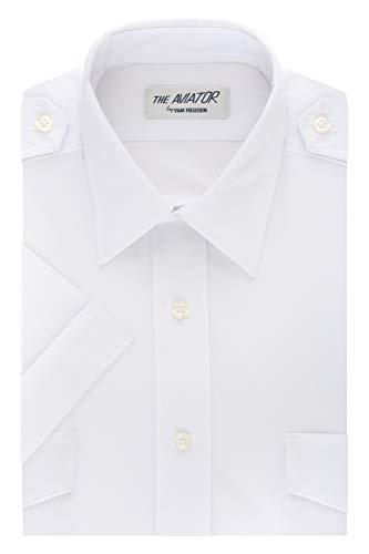 Van Heusen Men's Short Sleeve Aviator Shirt,white,15' Neck