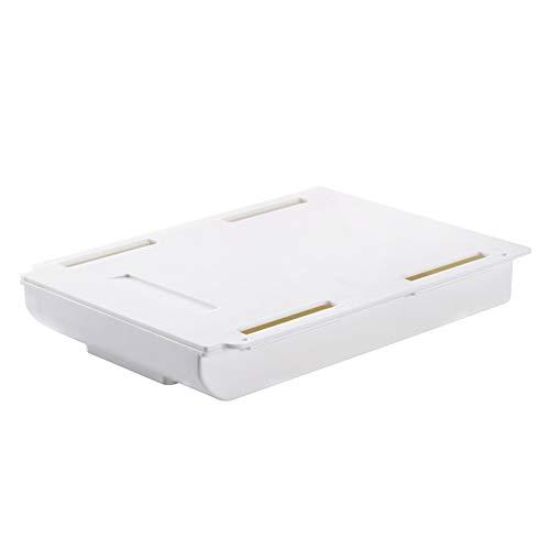 Bandeja autoadhesiva para debajo de los cajones de escritorio, para oficina, escuela, hogar, color blanco, L