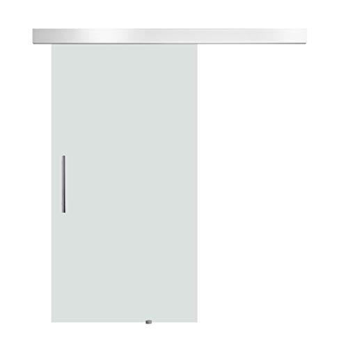 HOMCOM Glasschiebetür Schiebetür Tür Zimmertür mit Griffstange einseitig satiniert 2050x 1025 mm