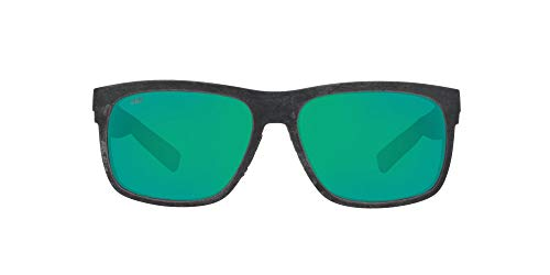 Costa Del Mar unisex adult Baffin Sunglasses, Net Grey/Blue Rubber/Green Mirrored Polarized-580g, 58 mm US