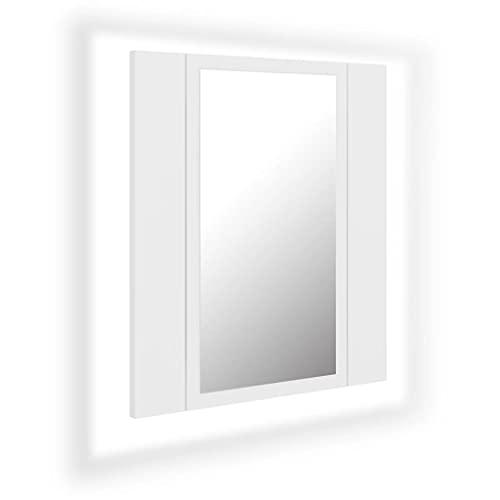 vidaXL Armario Espejo de Baño con Luz LED Inodoro Aseo Muebles Mobiliario Almacenamiento Estante Decoración Adorno Blanco 40x12x45 cm