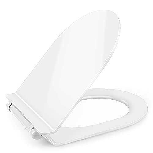 Sedile WC Universale, FINEW Tavoletta WC, Chiusura Ammortizzata, Antibatterico, Copriwater Ideal Standard, Forma D