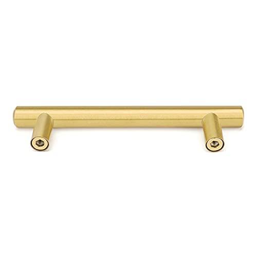 goldenwarm Brushed Brass Drawer Pulls Brass Cabinet Hardware 7-1/2(192mm) Hole Centers - LS201GD192 Modern Cabinet Handles Gold Kitchen Cabinets Pulls Handles 10 Overall Length, 5 Pack