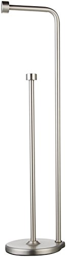 AmazonBasics Free Standing Bathroom Toilet Paper Holder Stand with Reserve, Silver Nickel